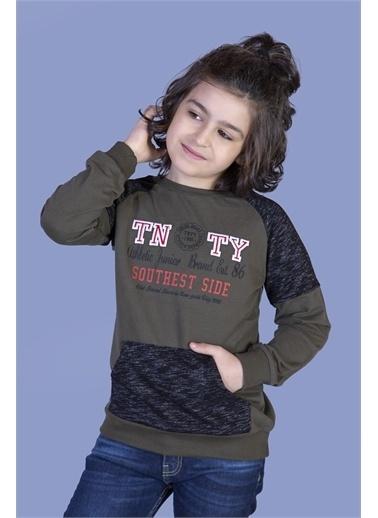 Toontoy Kids Toontoy Erkek Çocuk Garni Detaylı Nakışlı Sweatshirt Haki